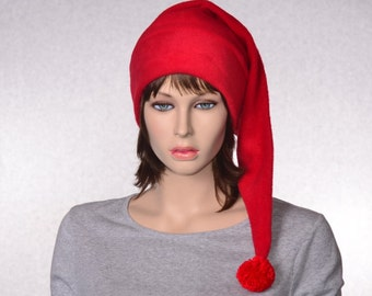 Red Stocking Cap Fleece Hat Extra Long Christmas Elf Hat Solid Red Santa Hat Adult