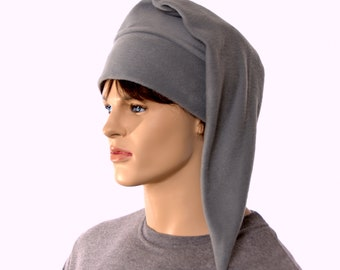 Silver Gray Elf Hat Short Pointed Stocking Cap Costume Hat Cosplay Unisex Adult