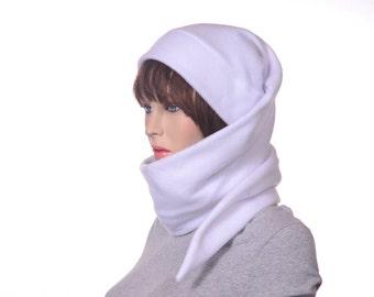 White Winter Fleece Hat Extra Long Stocking Cap Tassel Wrap Around Scarf Long Tail Hat