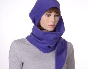Long Scarf Stocking Cap Purple Wrap Around Scarf Hat 5  Tail Hat made of Fleece