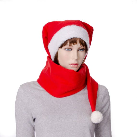 8ccb45ba8c7 Red 5 Foot Long Fleece Stocking Cap with Pompom and Sherpa