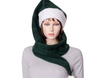 Long Stocking Cap Dark Green 5 Foot Fleece with Pompom and Sherpa Headband Wrap Around