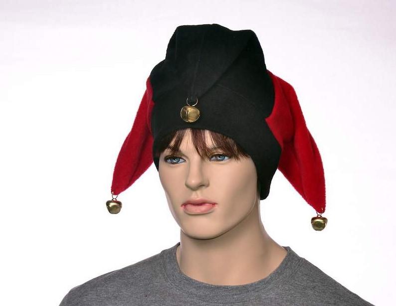 6707dc267a3 Red Black Jester Hat with Gold Bells Fleece Harlequin Cap