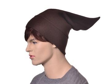 Brown Elf Hat Pointed Costume Beanie Cap Adult Dwarf Brownie Cosplay