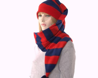 Long Stocking Cap Wrap Around Scarf Hat With Red Blue Stripes Headband and Pompom