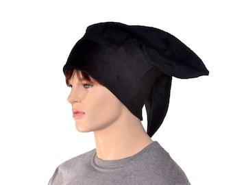 Jester Hat Black Three Point with Plain Tips Fleece Harlequin Hat Warm Winter Cap Cosplay