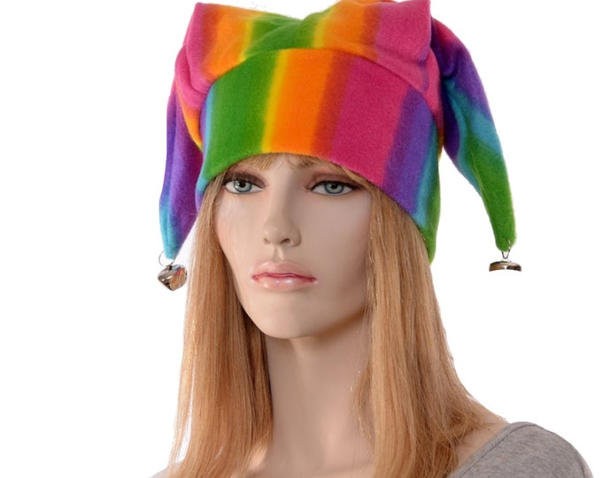 Featured listing image: Jester Hat Striped Three Point Harlequin Cap with Bells Fleece Mardi Gras Carnival Fleece Cosplay