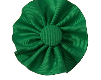 Green Cockade Ribbon Hat Trim Brooch Irish Rosette Cosplay