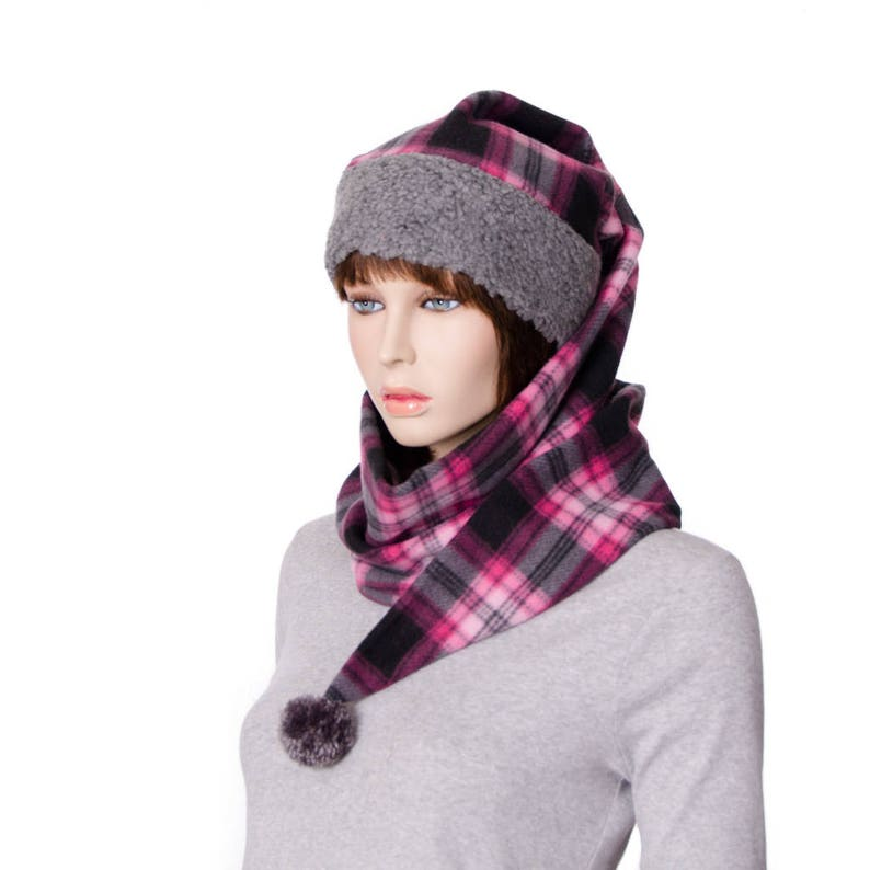 5ad8dc6481a Pink and Gray Plaid Wrap Around Hat Pointed Stocking Cap with