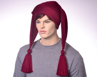 Maroon Jester Hat Two Point Burgundy Harlequin Style with Tassels Cosplay