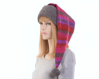 Long Stocking Cap Southwest Sweater Fleece Gray Sherpa Sewn Sweater Knit Scarf Hat Pompom