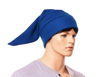 Elf Hat Peacock Blue Fleece Long Pointed Beanie Dwarf Cap Cosplay Adult Men Women