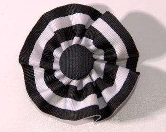 Black and White Cockade Ribbon Hat Trim Pin Federalist Rosette Cosplay