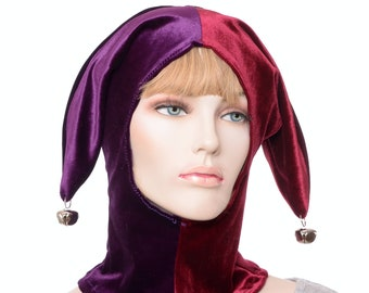 Jester Hood Burgundy and Purple Hat Made of Fleece with Bells Harlequin Cap Cosplay