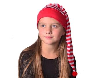 Holiday Stocking Cap Childs Red White Stripe Girl Boys Kids Cotton Holiday Pajamas Hat Night Cap Elf Christmas Nightcap Cosplay