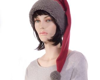 Long Stocking Cap Burgundy Gray Sherpa Shoulder Length Pointed Hat Fleece Santa Elf Hat Goth Adult Men Women