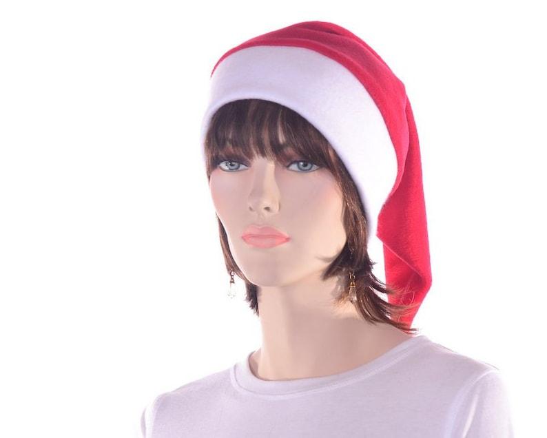 Red White Stocking Cap Fleece with Pompom Fuzz Ball