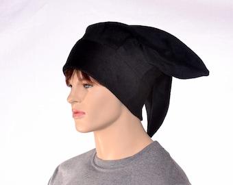 Black Three Point Jester Hat with Plain Tips Fleece Harlequin Hat Warm Winter Hat Plain Tip Jester Cap Cosplay
