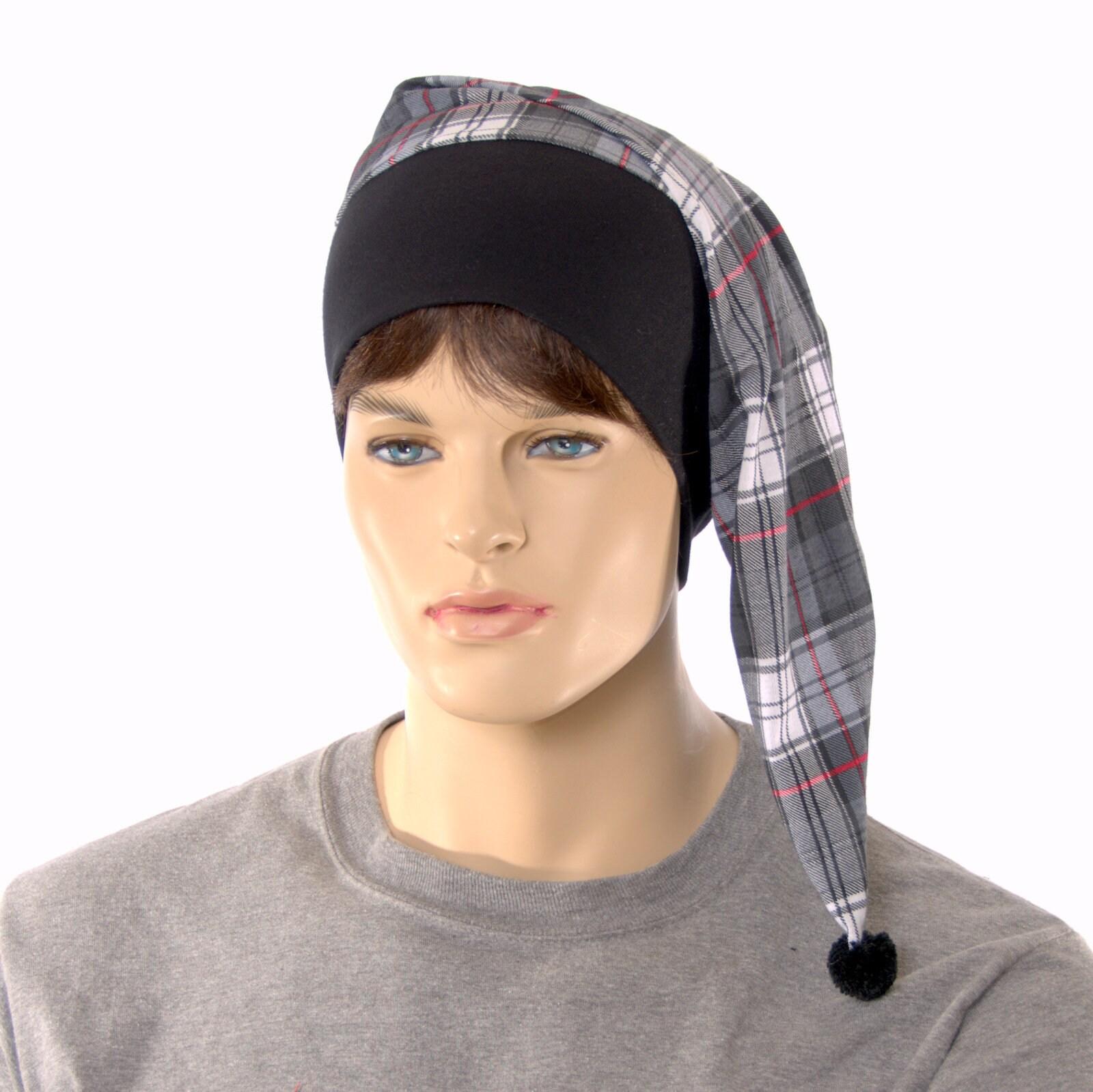 Nightcap Cotton Plaid Black Gray Night Cap Pompom
