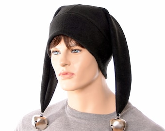 Black Harlequin Jester Hat Made of Fleece Two Pointed with Oversized Bells Cosplay