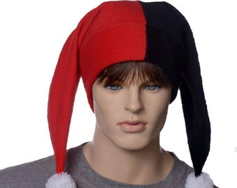 Jester Hat Red Black Harlequin Cap with White Pompoms Fleece Costume Fool Cosplay