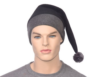 Mens Stocking Cap Charcoal Gray and Black Pointed Hat with Pompom Warm Winter Fleece Hat