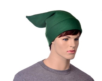Elf HatGreen Fleece Short Pointed Stocking Cap Dwarf Hat Mens Womens Adult Cosplay