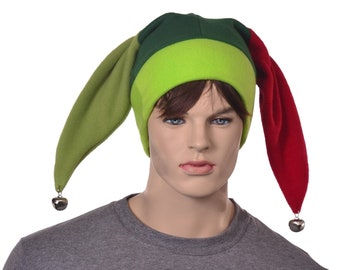 Silly Jester Cap 3 Greens Red Patchwork Carnival Costume Two Point Harlequin Hat Adult Fool Hat Cosplay