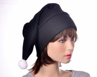 Goth Black Stocking Cap White Pompom Fuzz Ball Long Pointed Elf Hat Black Beanie