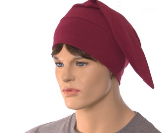 Pointed Nightcap Burgundy Maroon Unisex Adult Cotton Traditional Night Cap Hat to Sleep In