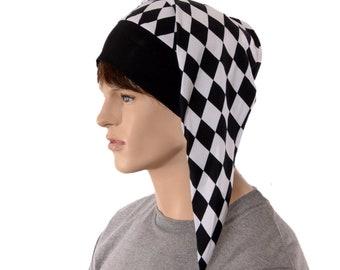 Harlequin Hat Night Cap with Black Pompom Cotton Adult Men Women Jester Cap Cosplay