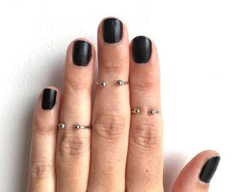 Thin double ball Mid finger ring/Simple small double ball ring/ simple barbell midi ring/ above the Knuckle Ring/ Bohemian style jewelry