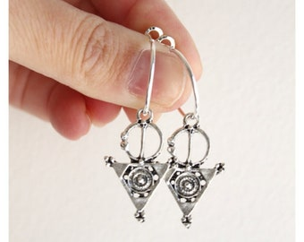 North African Taureg Cascade Circle Silver Earrings with Engraving