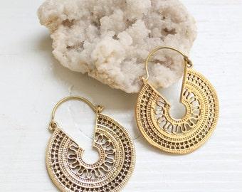 Bohemian Earrings Gypsy Ethnic Brass Antique Gold Earrings Half Moon Ornate Hoop Drop Earrings engraved ornate Basket shape