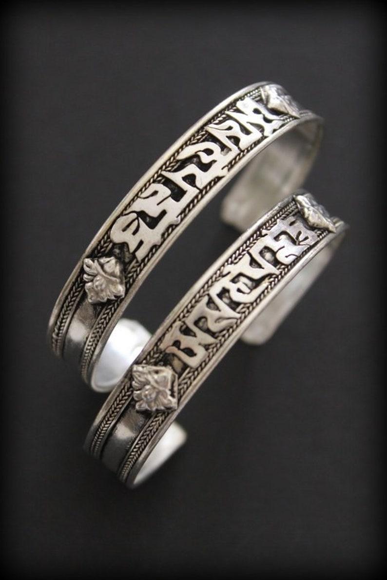 Tibetan Silver Six Words Mantras Amulet Bangle- Tibet Open Cuff Bangle Om  Mani Padme Hum- Nepal cuff bracelet- stackable unisex bracelet