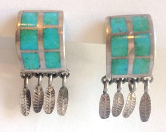 vintage inlay turquoise earrings with dangling silver feathers