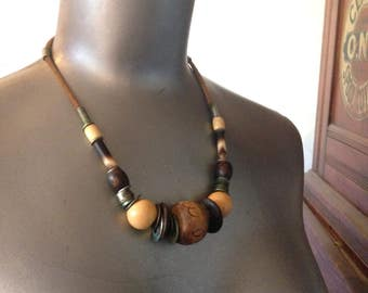 wood bead quill and metal bohemian vintage necklace