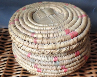 vintage coil basket with cover touches of color