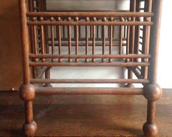 antique ball and stick oak stool original finish and patina