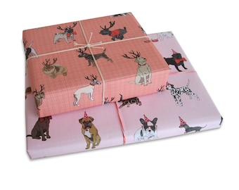 Three Sheets Of Dogs Gingham Wrapping Paper