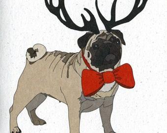 Illustrated Deer Pug Blank Card