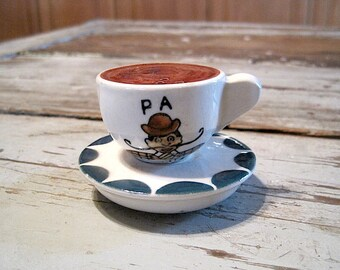 """Vintage Victoria Ceramics """"Pa"""" Coffee Cup & Saucer Salt and Pepper Shakers"""