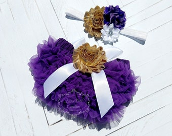 Baby Bloomer, Purple Ruffle Bloomer and Headband, Baby Photo Prop, Newborn Bloomer, Ruffle Diaper Cover, Infant Bloomer, Purple and Gold