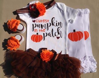 FALL COLLECTION - Cutest Pumpkin in the Patch Outfit, Fall Girl Outfit, Fall Bodysuit, Photo Prop, Brown Tutu Bloomer, Infant Thanksgiving