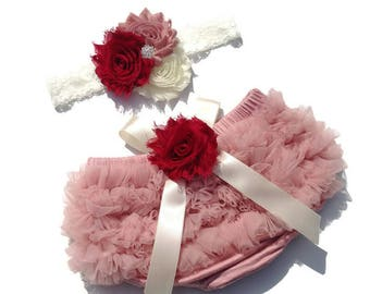 FALL COLLECTION-Baby Bloomer Set, Dusty Rose Chiffon Ruffle Bloomer and Headband, Newborn Bloomer, Vintage Pink Bloomer, Ruffle Diaper Cover