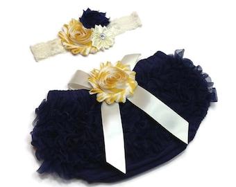 Baby Bloomer Set, Navy & Yellow Chiffon Ruffle Bloomer and Headband, Photo Prop Set, Newborn Bloomer, Baby Girl Bloomer, Ruffle Diaper Cover