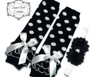 Black Polka Dot Leggings, Infant Leg Warmer, Baby Leggings, Black Dot Leg Warmer and Headband Set, Baby Headband, Black & White Leg Warmers