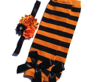 halloween collection orange and black stripe leg warmers shabby chic headband baby legwarmers fall leggings halloween leg warmers