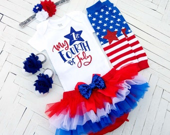 fab0ddb4b My 1st Fourth of July Outfit, Red White and Blue Baby Girl Set, Patriotic  4th of July, Independence Day Baby Outfit, First 4th of July