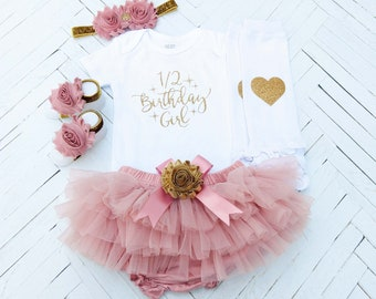 1 2 Birthday Girl Outfit Half 6 Months Way To One Cake Smash Month Photo Vintage Pink Tutu